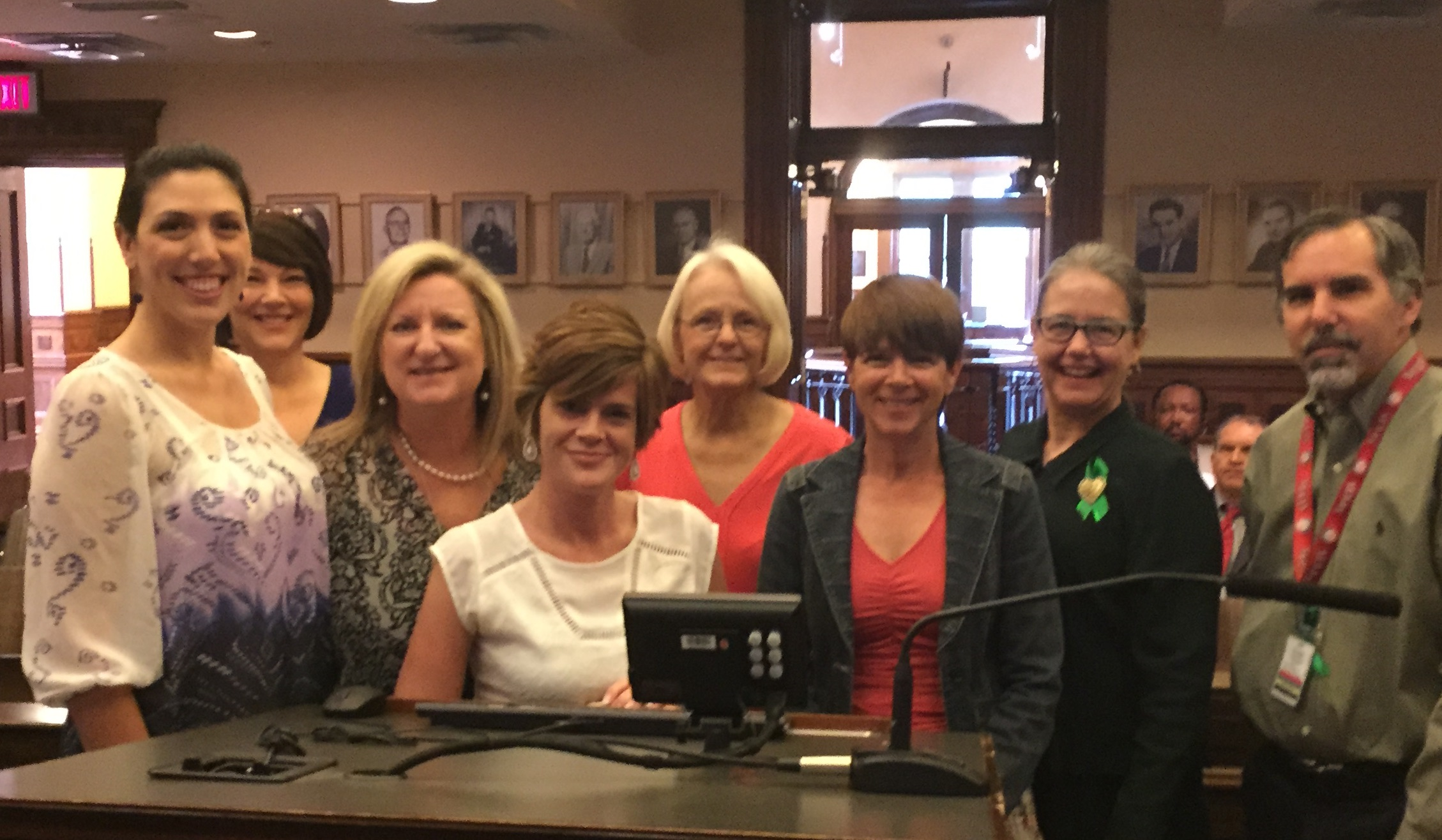 Representatives of the WATCH Coalition, Denton County MHMR Center, and Denton County Federation of Families receiving a proclamation at Commissioners Court, May 5, 2015