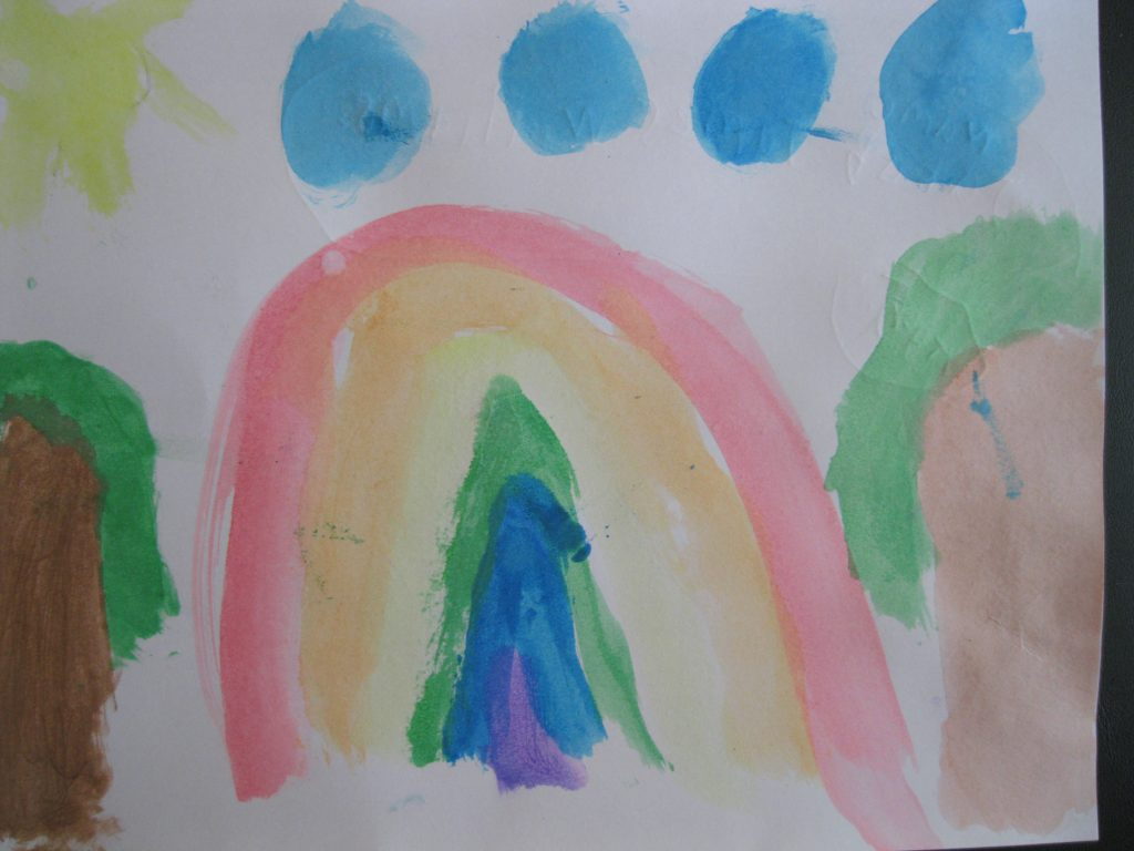 "Honorable Mention Jakob, age 5 ""Rainbow"" I feel like a rainbow and I feel like a nice sun."