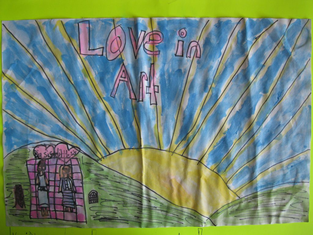 "Honorable Mention Delaney, age 8 ""Love in Art"" Two sisters watching the sunset, having a picnic. The two sisters show love in the picture. They are sitting on two little hills."