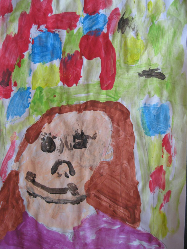 """3rd place Grace, age 7 """"Think About Feelings"""" This is a picture of me feeling different emotions."""