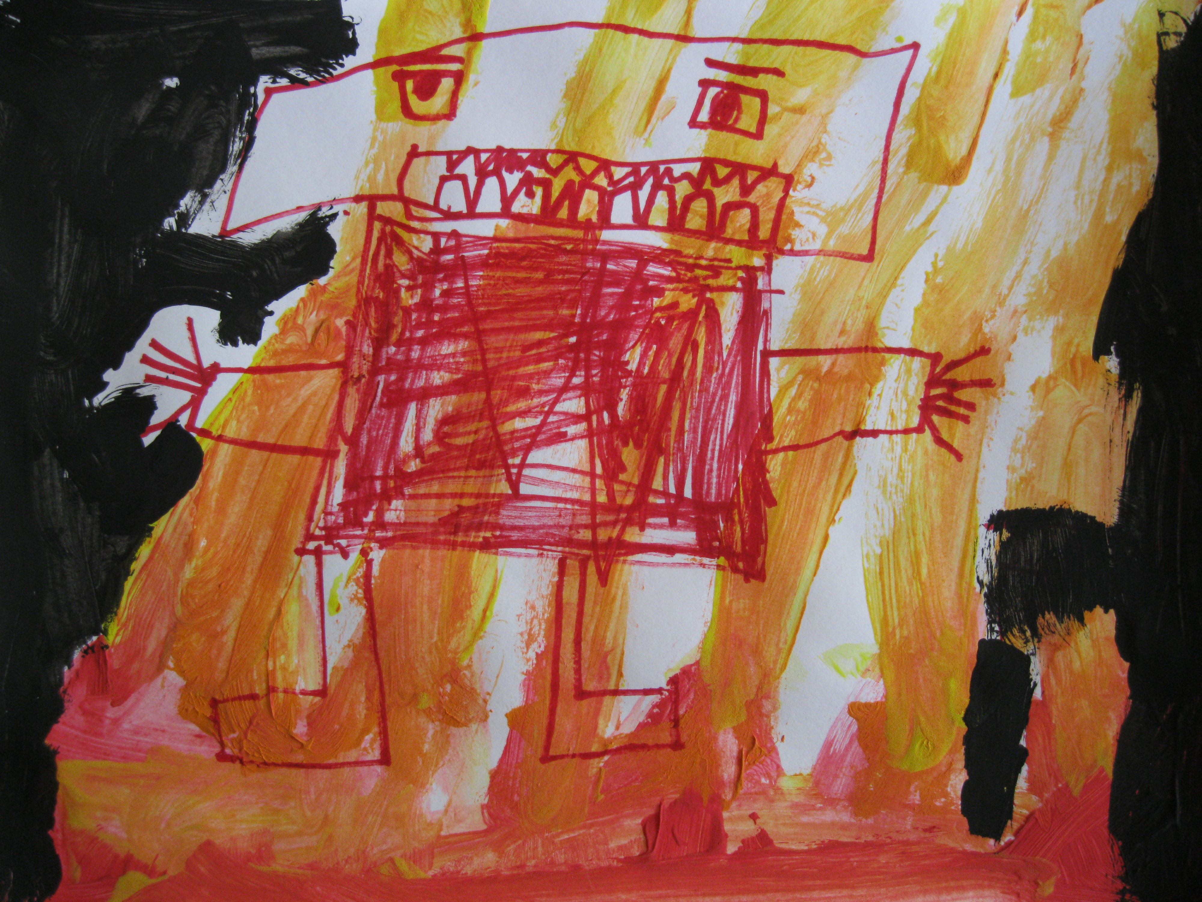 """2nd place Eli, age 5 """"Anger"""" He's mad. He is on fire, he likes to scream. He is angry."""