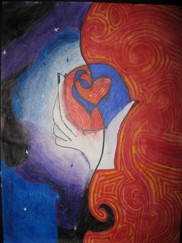 """1st place Lilly, age 13 """"Mixed Emotions"""" It's a metaphor for your 2 worst emotions mixing into something good."""
