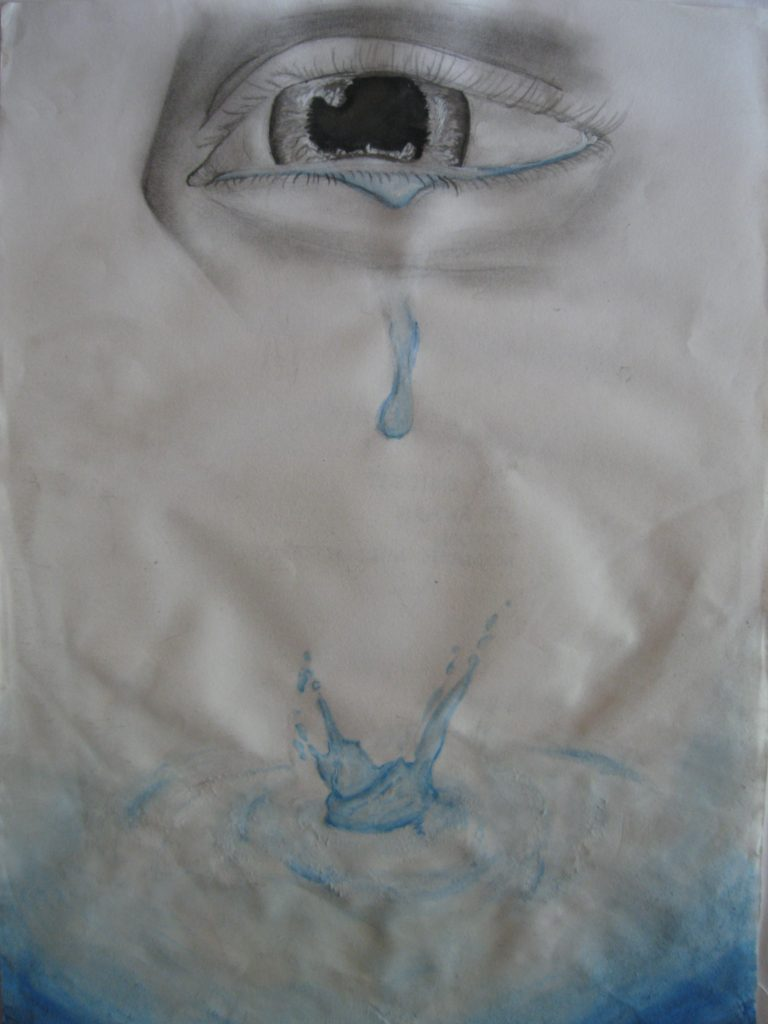 """2nd place Lily, age 14 """"Ocean"""" I represented sadness by making the person who is crying in black and white pencil, and the ocean of tears in blue water color, showing how even in times of colorless sadness, there is always colorful hope in the future."""