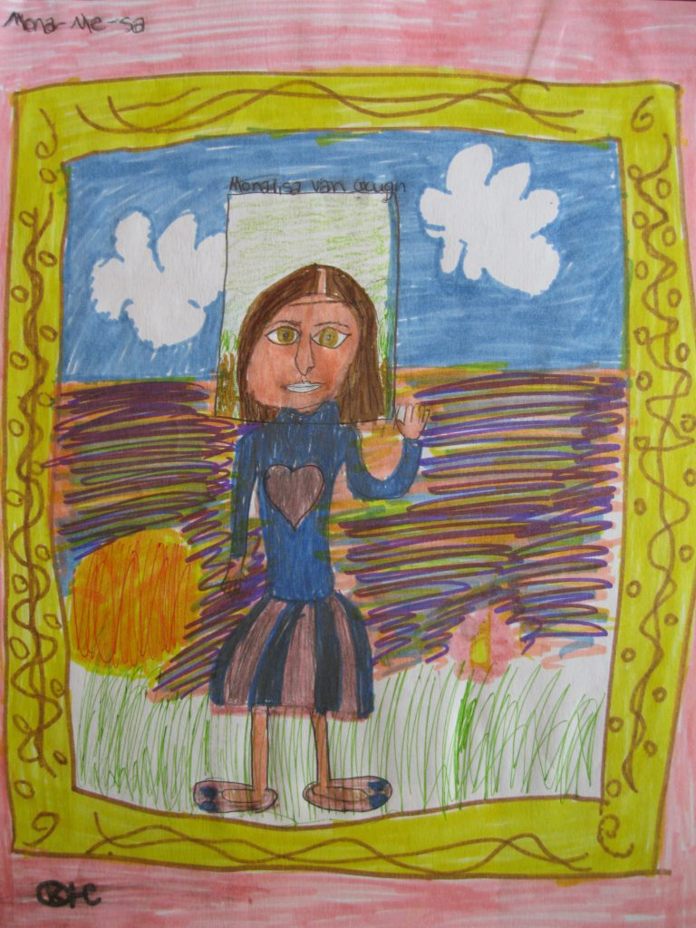 """Honorable Mention Karma, age 10 """"Mona[me]sa"""" My art work is representing me feeling being wonderful and vivid."""