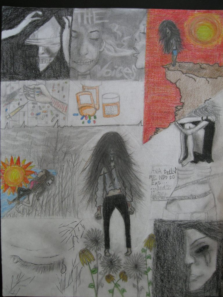 """1st place Aryana, age 16 """"Standing Beauty"""" It's almost never what it seems. Everything seems """"fine"""", but take a look withen…I'm telling the story of a girl who's going through depression, Bipolar, Anorexia, and shitzophrenia. I have an idea on what it's like…she's a standing beauty. It's a part of me."""