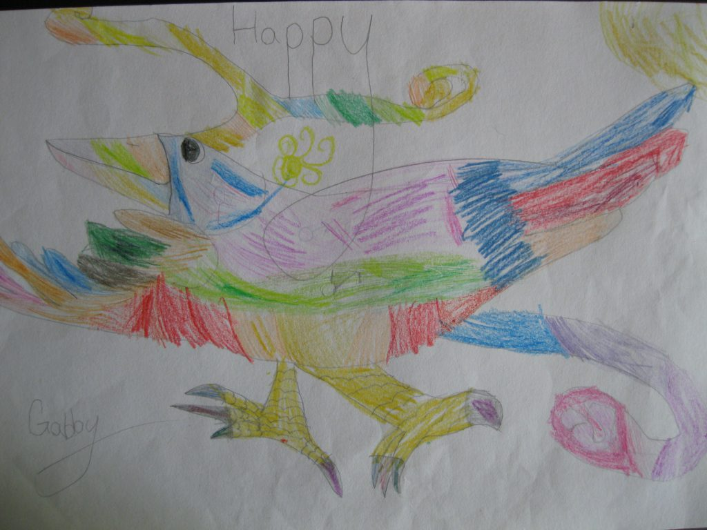 """1st place Gabby, age 8 """"Happy"""" People should be who they want to be. Love who they want to love and be happy."""