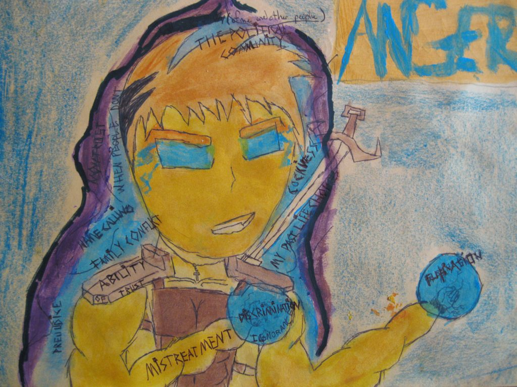 """2nd place Ethan, age 11 """"Anger"""" The feelings I get when something makes me angry."""